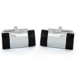 Silvertone and Black Enamel Rectangle Cuff Links