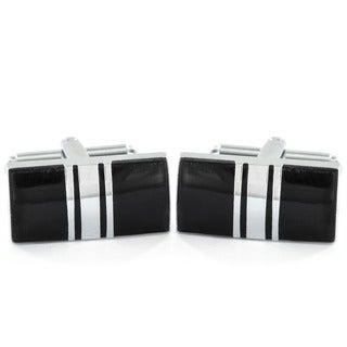 Silvertone and Black Enamel Striped Rectangle Cuff Links