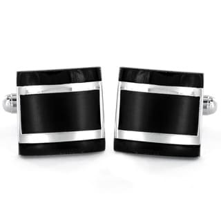 Silvertone and Black Enamel Square Cuff Links