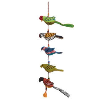 Sitara Hand-sewn Five Birds Hanging Ornament (India)
