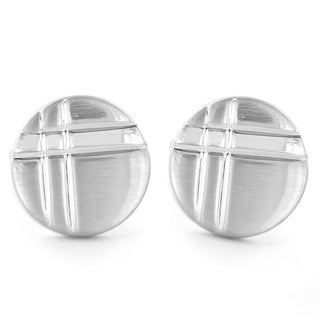 Silvertone Grooved Round Cuff Links