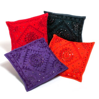 Set of 4 Kutch All-over Embroidered Mirror Accent Cushion Covers (India)