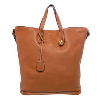 Alexander McQueen Skull Padlock North-South Tan Tote Bag