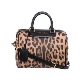 Dolce & Gabbana Medium Leopard Print Saffiano Leather Satchel