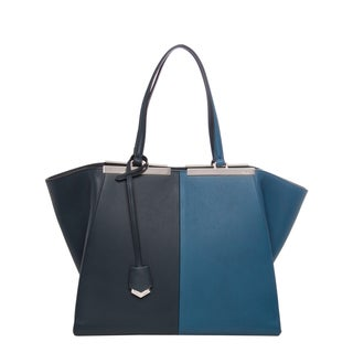 Fendi Large '3Jours' Cobalt and Navy Bi-color Leather Shopper Bag