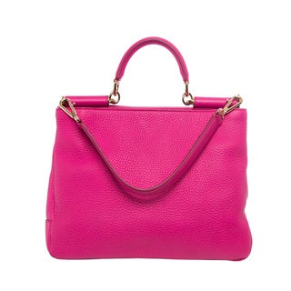 Dolce & Gabbana 'Sicily' Soft Hot Pink Leather Shoulder Bag