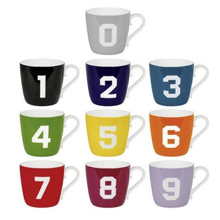 Konitz Colored Number Mugs 0-9 (Set of 10)