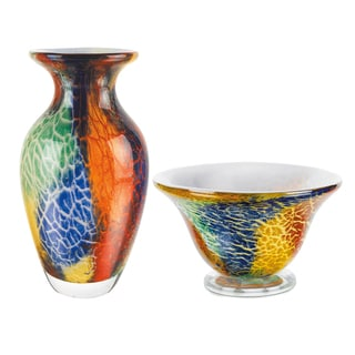 Firestorm Collection Multicolor Glass Vase and Bowl Set