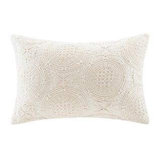 Harbor House Eternity White Cotton Crocheted Oblong Pillow