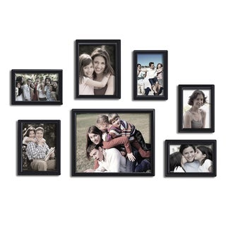 Adeco Decorative Black Wood Wall Hanging/ Table Top Photo Beveled Frames (Set of 7)