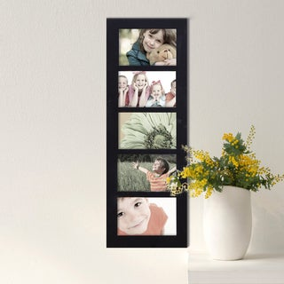 Adeco Decorative Black Wood Wall Hanging Picture Frame with 5 Divided 4x6-inch Openings