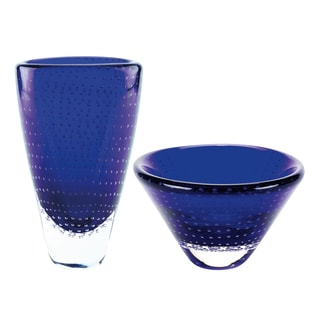 Blue Dots Collection Glass Vase and Bowl Set