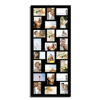 Adeco Decorative Black Wood Hanging 4x6 Photo Frame with 24 Openings