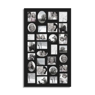 Adeco Decorative Black Wood Wall Hanging Collage Photo Frame with 29 Openings