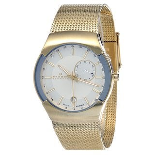 Skagen Men's 983XLGG Silver Dial Gold Tone Stainless Steel Watch