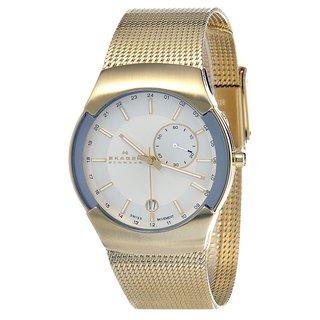 Skagen Men's 983XLGG Silver Dial Gold Tone Stainless Steel Watch