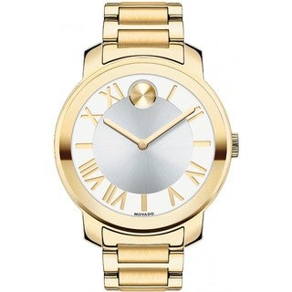 Movado Bold 3600198 White Silver Dial Gold Ion-plated Watch