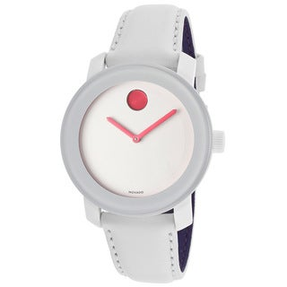 Movado Bold Women's 3600177 Pink Accents White Leather Watch