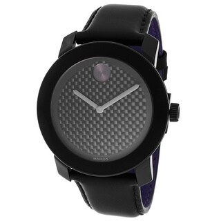Movado Bold Men's 3600170 Black Dial Coated Leather Strap Watch