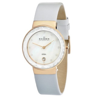Skagen Women's SKW2034 Stainless Steel White Leather Watch