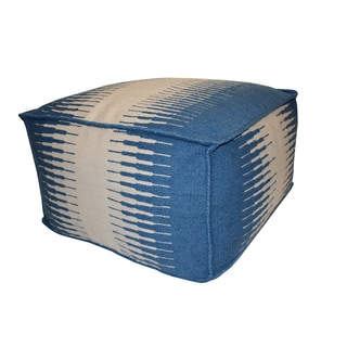 Blue/ White Connections Outdoor Pouf Ottoman