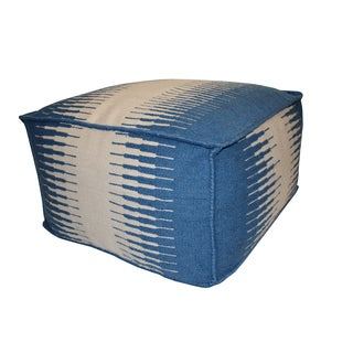 Blue and White Outdoor Pouf Ottoman