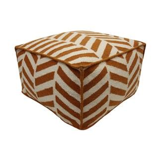 Orange/ Off-white Angles Wool Pouf Ottoman