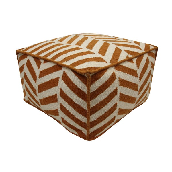 Orange/ Off-white Angles Wool Pouf Ottoman