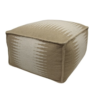 Jiti Beige/ Cream Connections Wool Pouf Ottoman