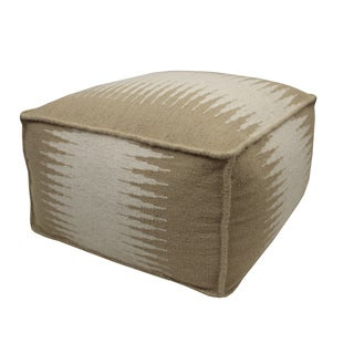 Beige/ Cream Connections Wool Pouf Ottoman
