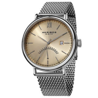 Akribos XXIV Men's Quartz GMT & Date Stainless Steel Strap Watch