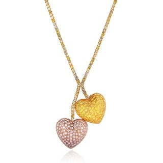 Annello 18k Gold 17ct Mixed Fancy Diamond Cherry Heart Necklace (VS1, VS2)