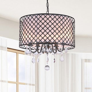Carina Antique Bronze Finish Drum Shade Crystal Chandelier