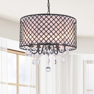 Carina Antique Black Finish Drum Shade Crystal Chandelier