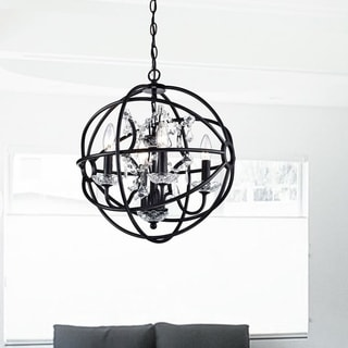 Benita 5-light Antique Bronze Metal Strap Globe Crystal Chandelier
