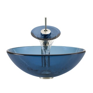 Polaris Sink Brushed Nickel Aqua Glass Vessel Sink and Faucet
