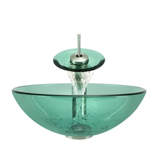 Polaris Sinks Brushed Nickel Emerald Glass Vessel Sink and Faucet