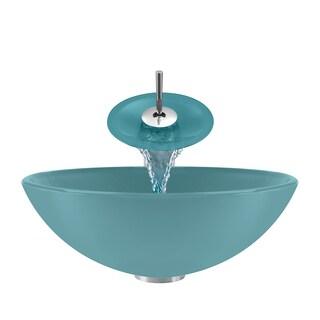Polaris Sinks Turquoise/ Chrome 4-piece Bathroom Sink Ensemble