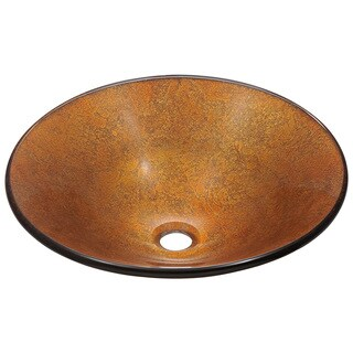 Polaris Sinks Goldtone and Bronze Foil Undertone Glass Vessel Sink