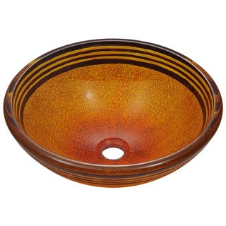 Polaris Sinks Red-orange and Black Hand-painted Glass Vessel Sink