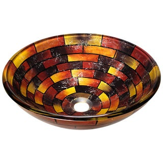 Polaris Sinks Multicolor Stained Glass Vessel Bathroom Sink