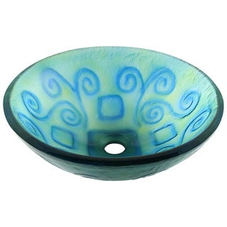 Polaris Sinks Blue/ Green Swirl Frosted Glass Vessel Sink