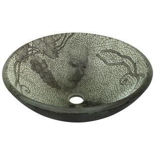 Polaris Sinks Cracked Vineyard Acid-etched Glass Vessel Bathroom Sink