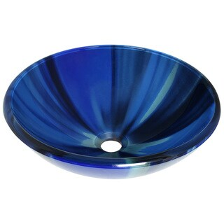 Polaris Sinks Blue Sky Embossed Glass Vessel Bathroom Sink