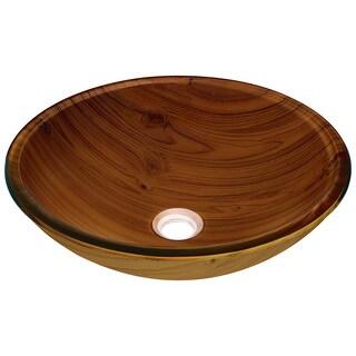 Polaris Sinks Embossed Wood Grain Glass Vessel Bathroom Sink