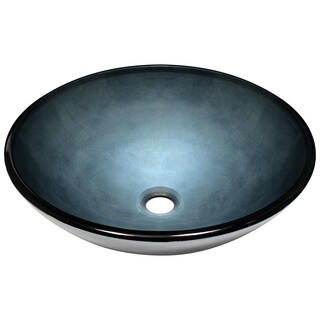Polaris Sinks Blue Hand-painted Glass Vessel Sink
