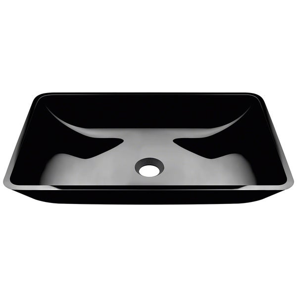 Polaris Sinks Black Coloured Glass Rectangular Vessel Bathroom Sink