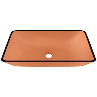 Polaris Sinks Coral Colored Glass Rectangular Vessel Bathroom Sink