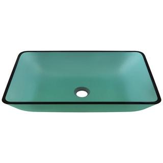 Polaris Sinks Emerald Colored Glass Rectangular Vessel Bathroom Sink