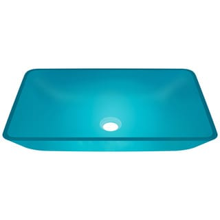 Polaris Sinks Turquoise Colored Rectangular Glass Vessel Bathroom Sink